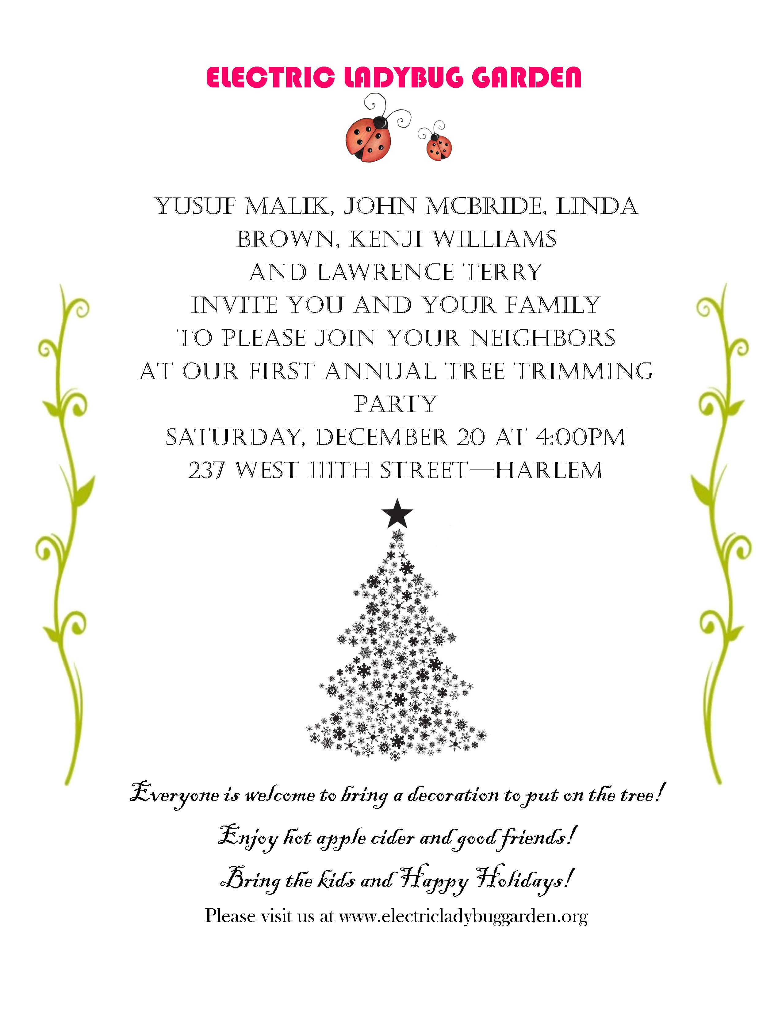 Electric Ladybug Garden Page 2 of 3 A GreenThumb Community – Tree Trimming Party Invitation