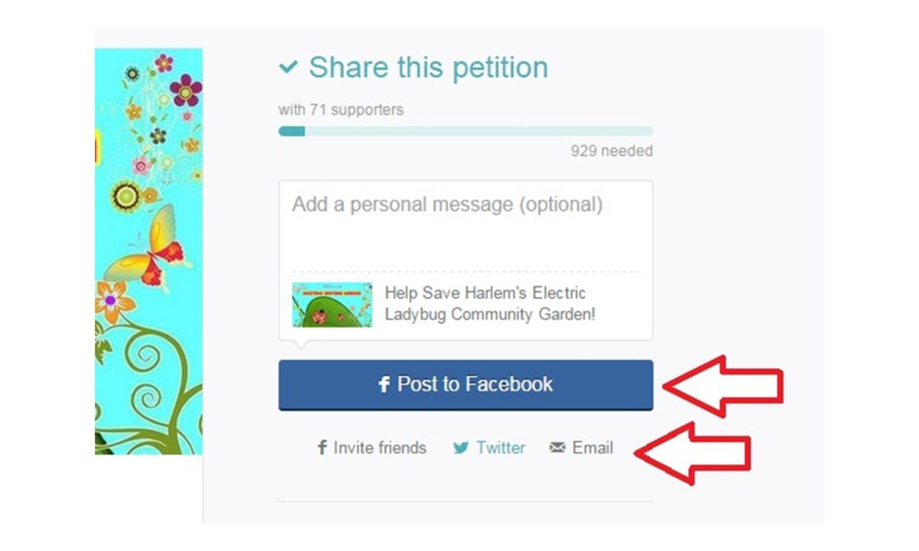 facebook button for petition